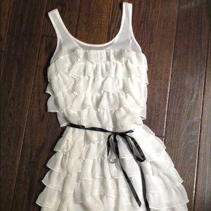 9c64a414cbbe aerie Dresses - aerie off white ruffle dress   black ribbon belt M